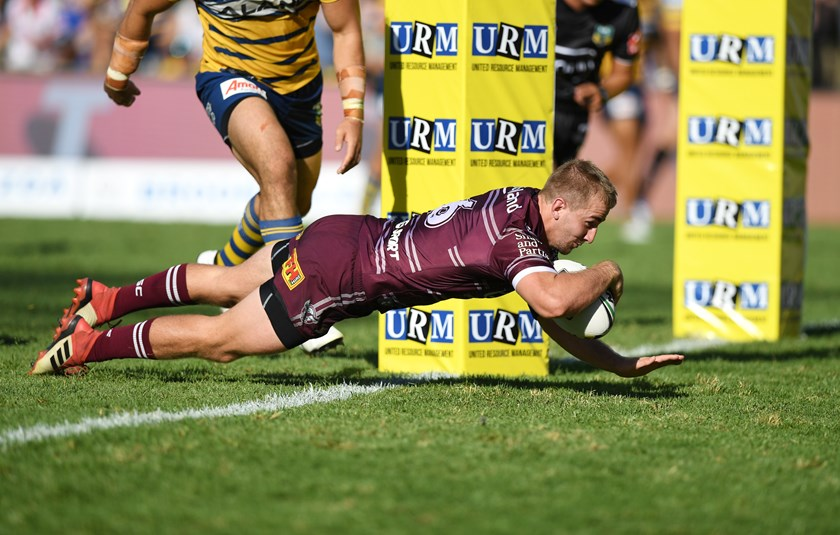 Manly five-eighth Lachlan Croker scores against the Eels.