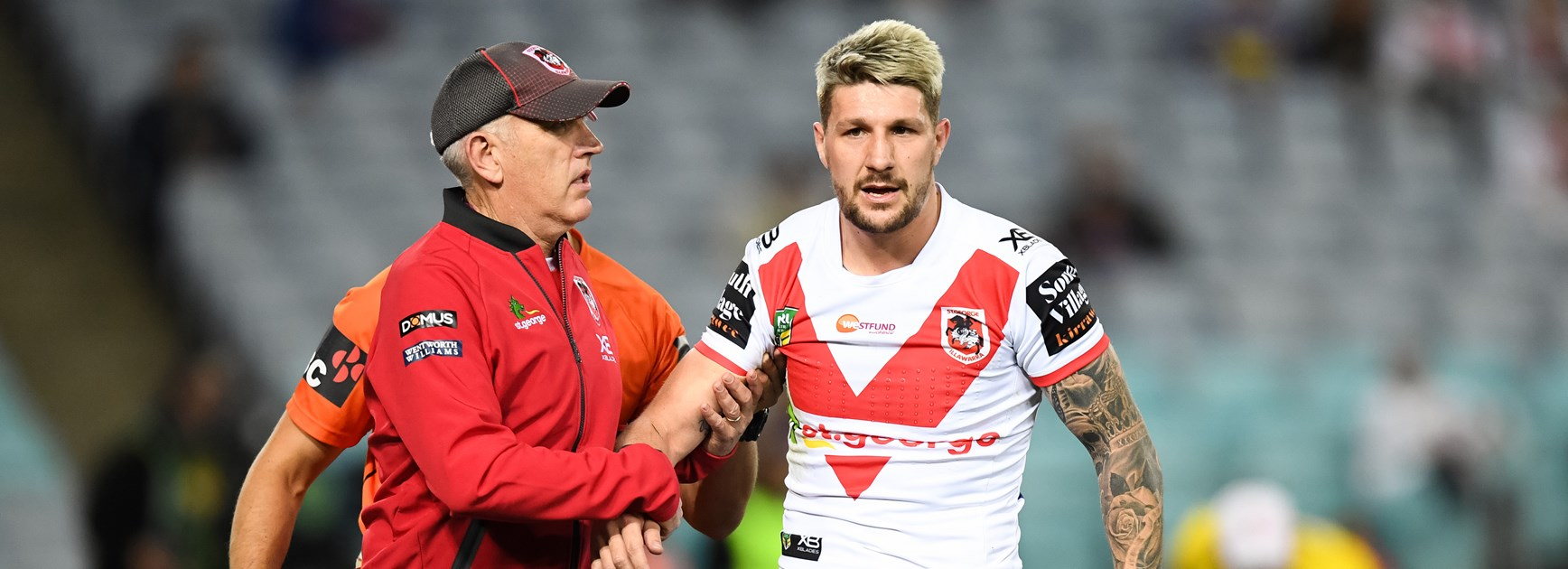 Dragons five-eighth Gareth Widdop is taken off with a shoulder dislocation.