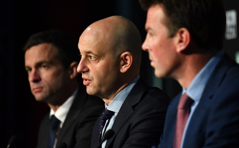 Storm boss Dave Donaghy, NRL chied executive Todd Greenberg and RLPA CEO Ian Prendegast.