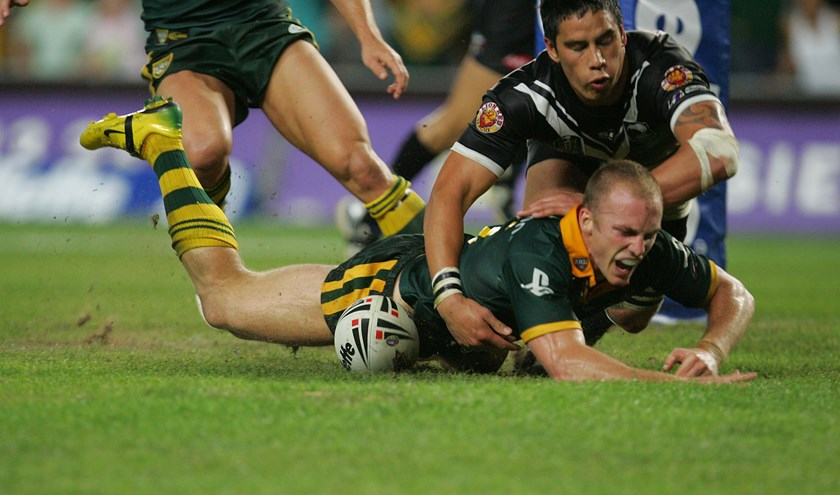 Darren Lockyer scores against the Kiwis in 2006.