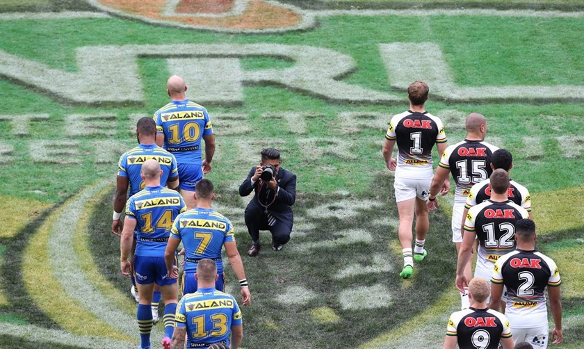 Benjamin Cuevas takes a snap ahead of an Eels v Panthers clash.