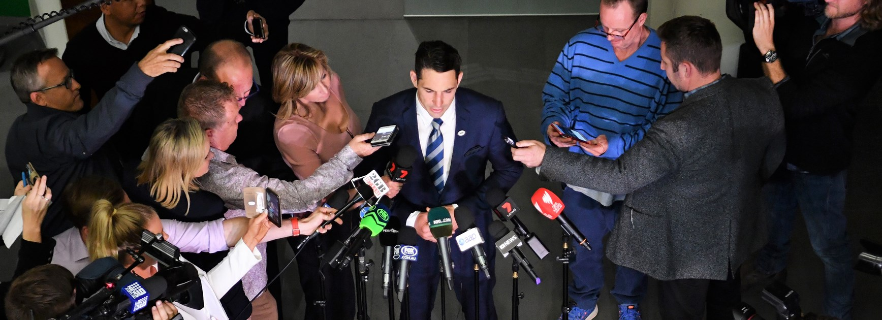 Billy Slater addresses the media following his successful judiciary hearing.