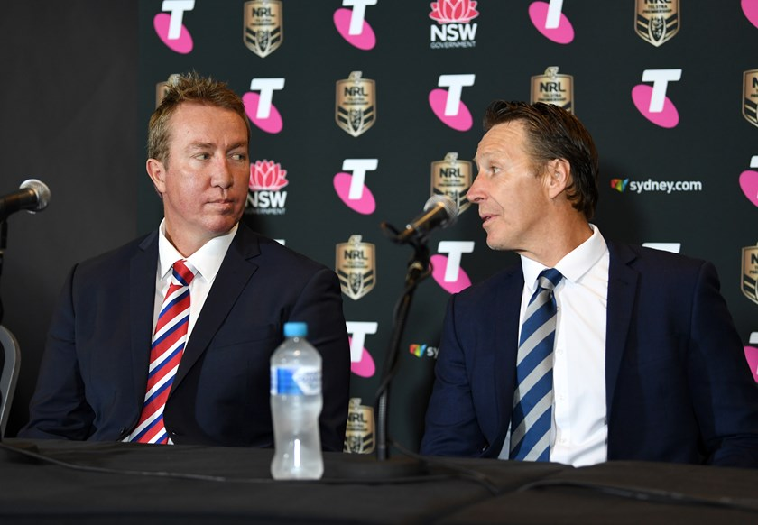 Roosters coach Trent Robinson and Storm coach Craig Bellamy.