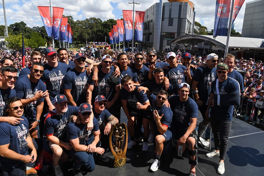 The Sydney Roosters at their post-grand final fan day.