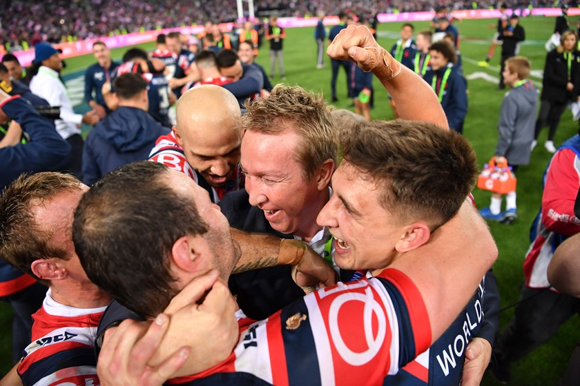 Trent Robinson and Roosters players.