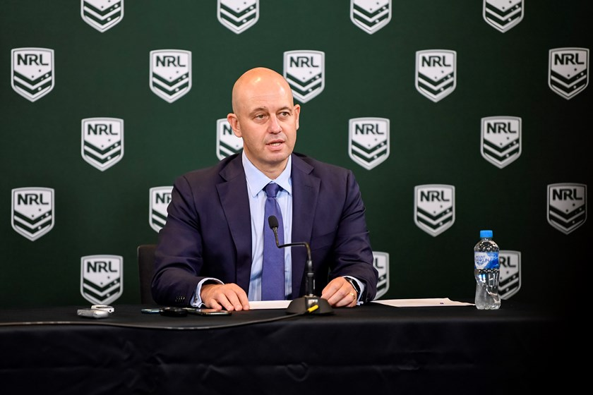 NRL CEO Todd Greenberg announces the Manly salary cap sanctions.