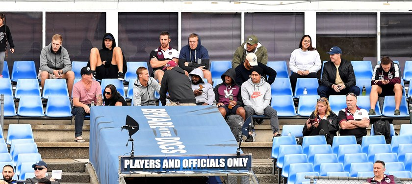 Several members of Manly's NRL squad, including captain Daly Cherry-Evans, watch Blacktown's clash with Canterbury at Belmore.