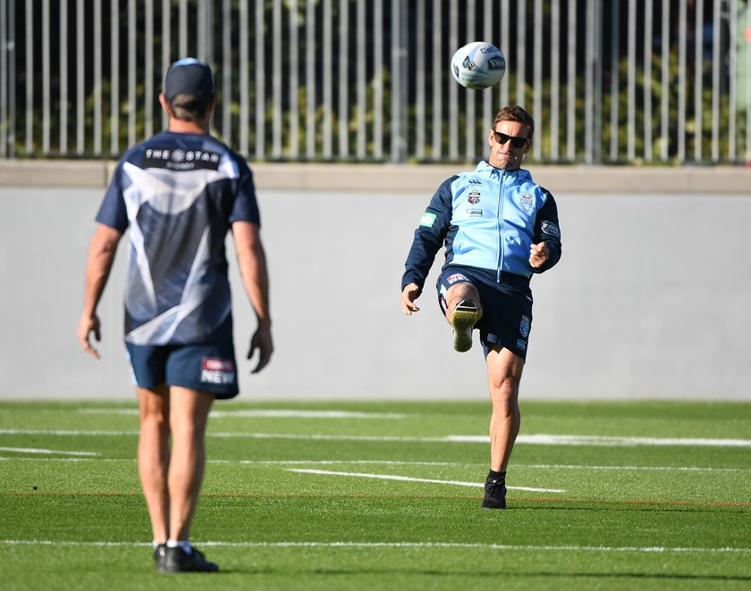 Andrew Johns gets down to business at Blues training.