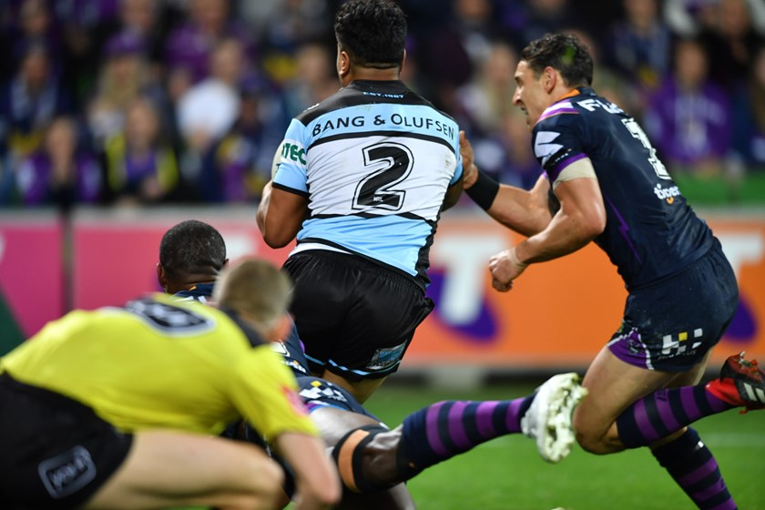 The tackle that threatened Billy Slater's grand final appearance.