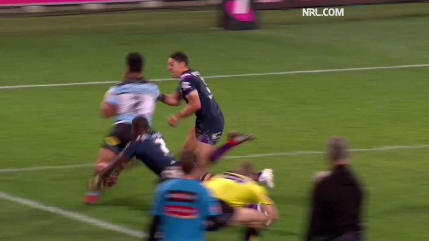 Billy Slater about to make impact with Sosaia Feki.