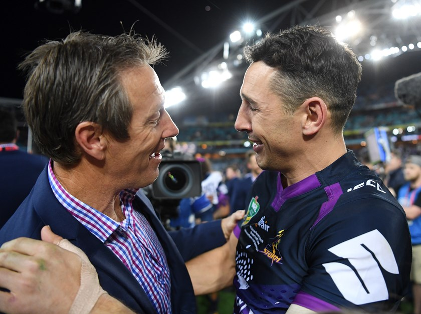 Storm fullback Billy Slater and coach Craig Bellamy.