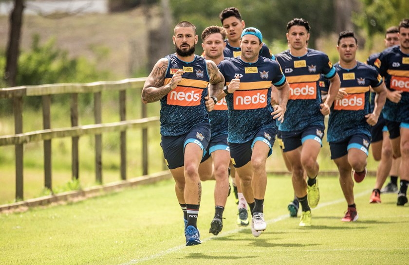 Nathan Peats leads the Titans at training.