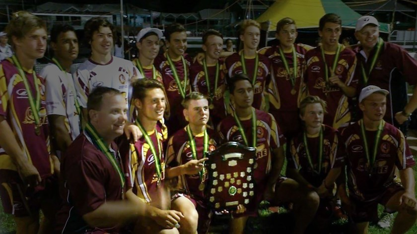 Queensland under 15 touch football teammates Kalyn Ponga and AJ Brimson.