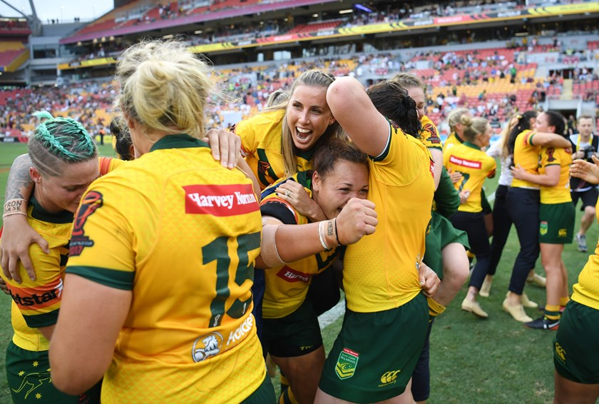 Sam Bremner joins the Jillaroos celebrations after the World Cup final.