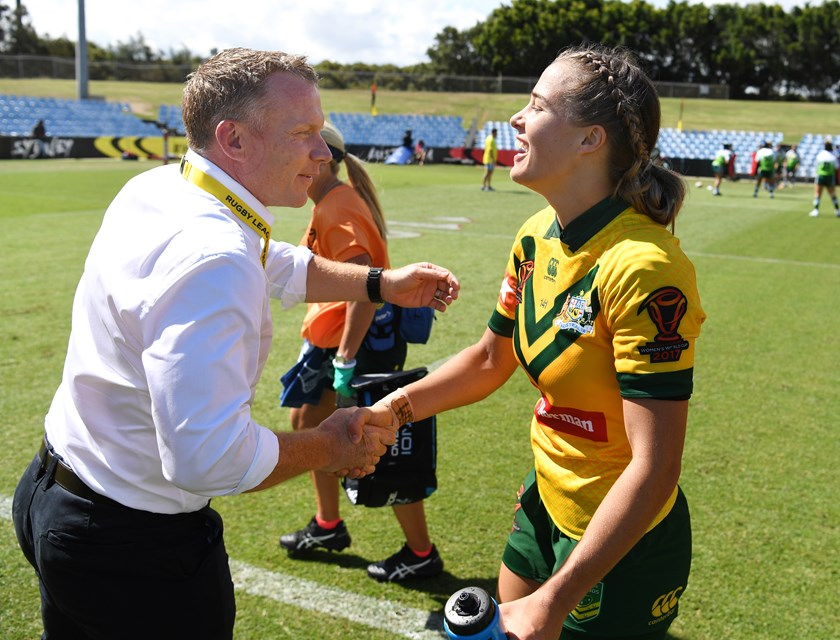 Jillaroos coach Brad Donald and Isabelle Kelly.