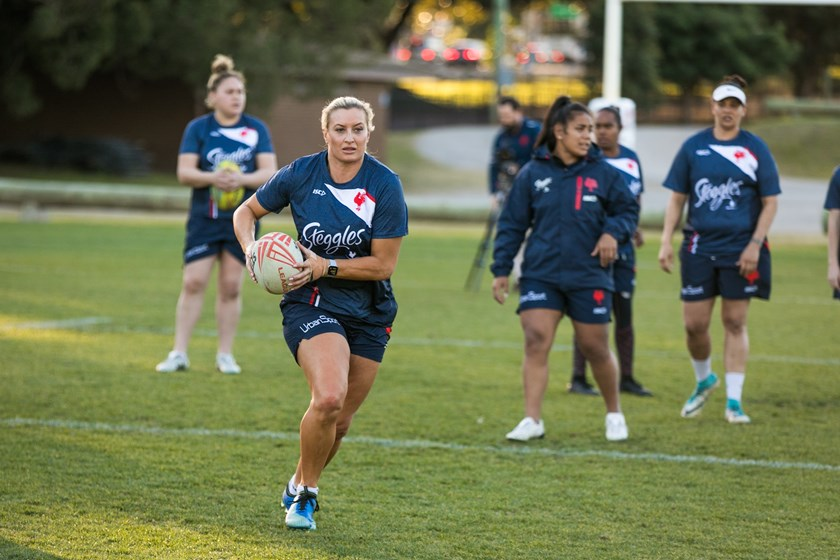 Ruan Sims trains with the Roosters.