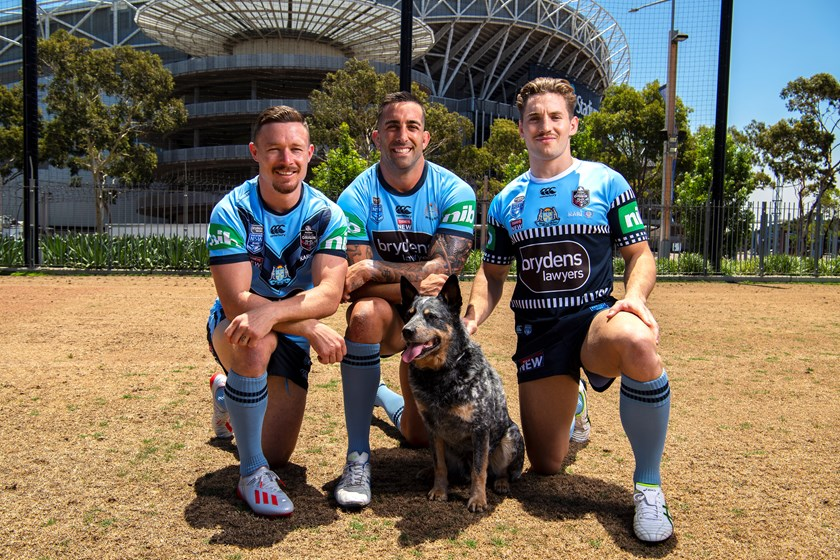 Damien Cook, Paul Vaughan and Cameron Murray model the new Blues jerseys for 2020.