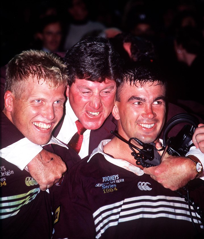 Chris Close during his time as Maroons team manager in the 1990s with Gary Larson and Andrew Gee.