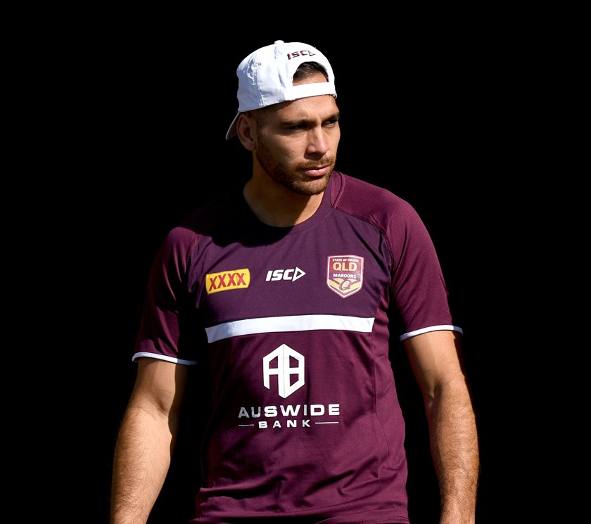Corey Norman at Maroons training.