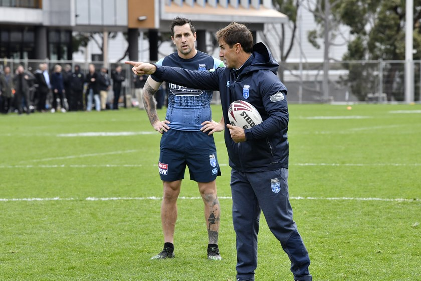 Mitchell Pearce and Andrew Johns at NSW training.