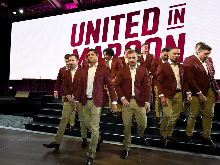 The Queensland squad at the 2019 Maroons launch.