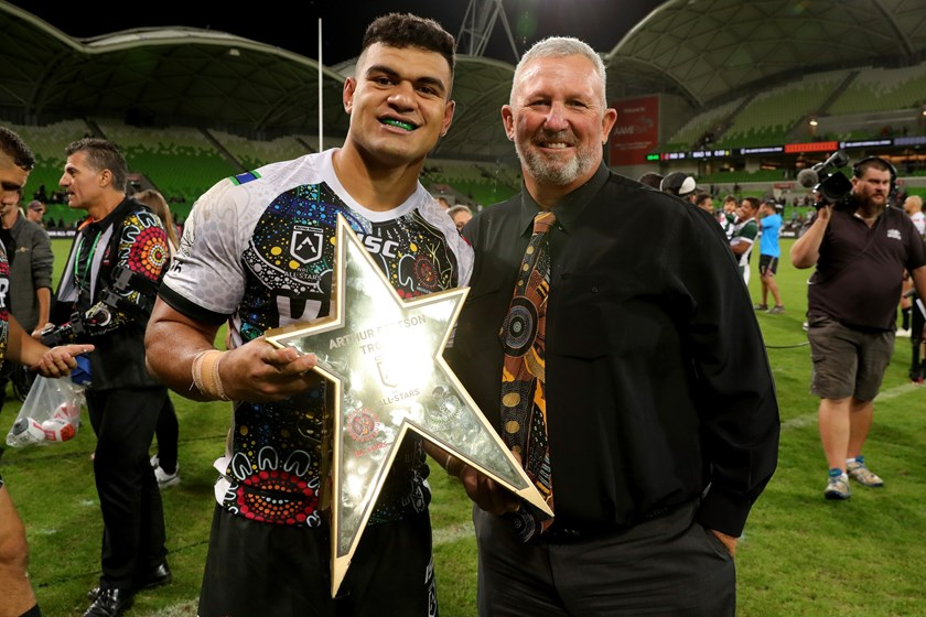 Indigenous All Stars youngster David Fifita with Brad Beetson.