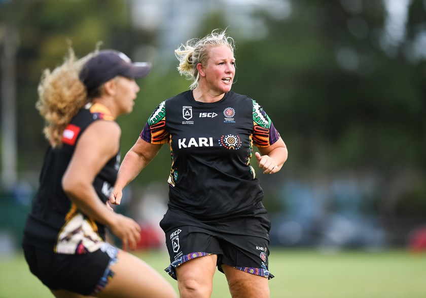 Rebecca Young puts in the hard yards at training.