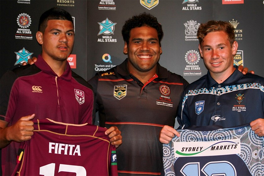 David Fifita with Sam Thaiday following his selection in the Murri under 16 team.
