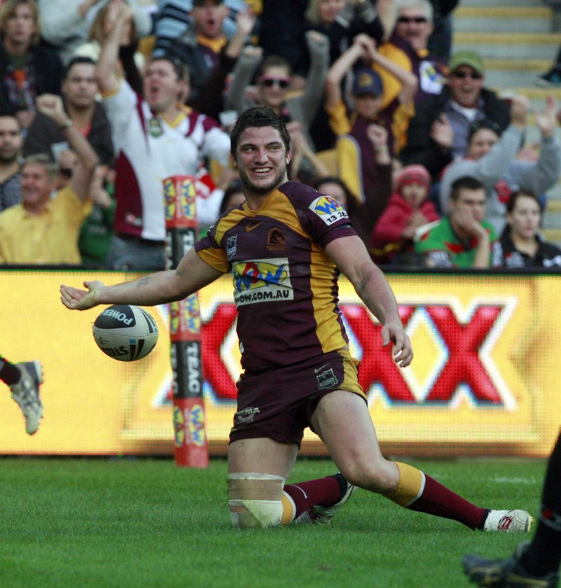 Matt Gillett scored a double against the Rabbitohs during his debut season in 2010.