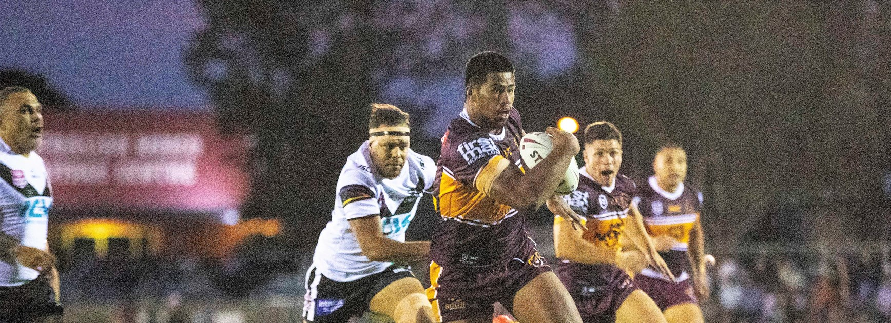 Payne Haas in action against Souths-Logan.