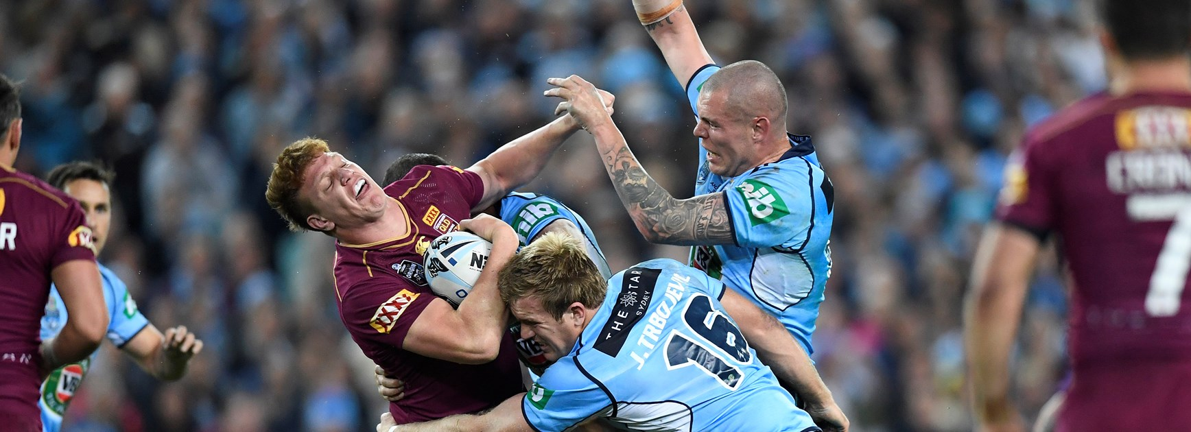 Dylan Napa and David Klemmer collide in a State of Origin match.