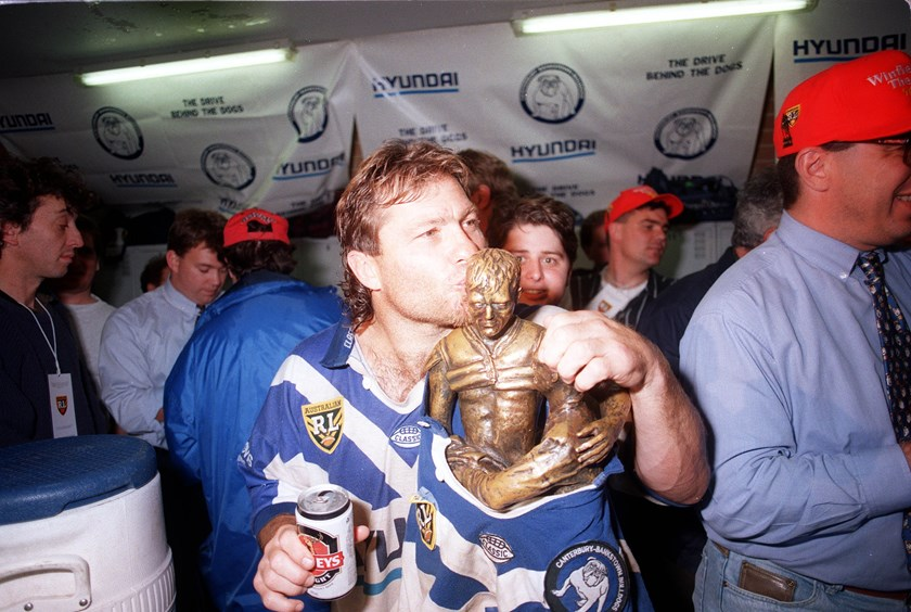 Bulldogs great Terry Lamb after winning the 1995 grand final.