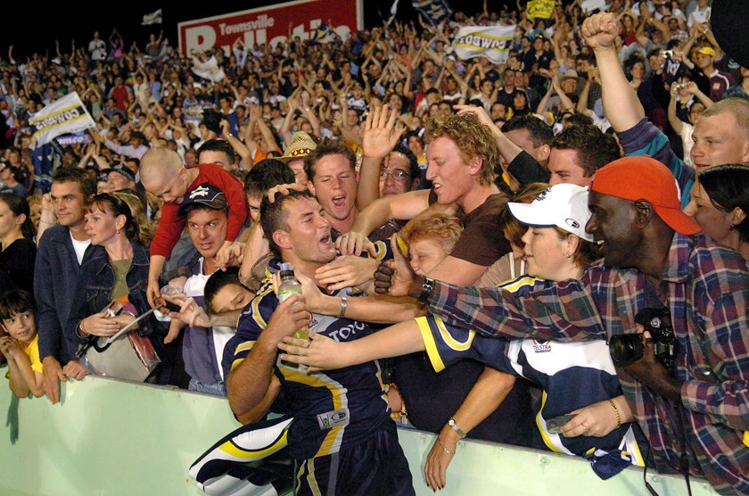 Aaron Payne with the Cowboys faithful after the 2004 semi-final win over Brisbane.