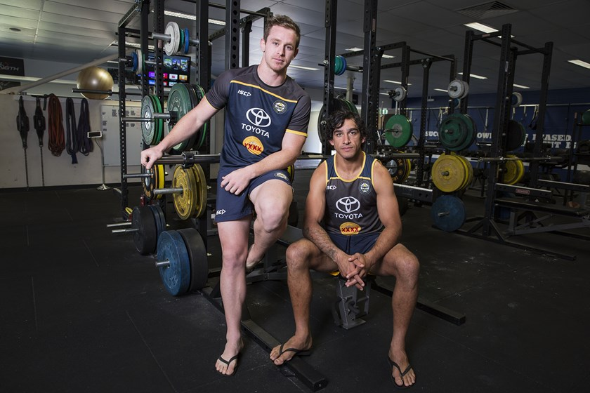 Michael Morgan and Johnathan Thurston in the week before the 2015 grand final.