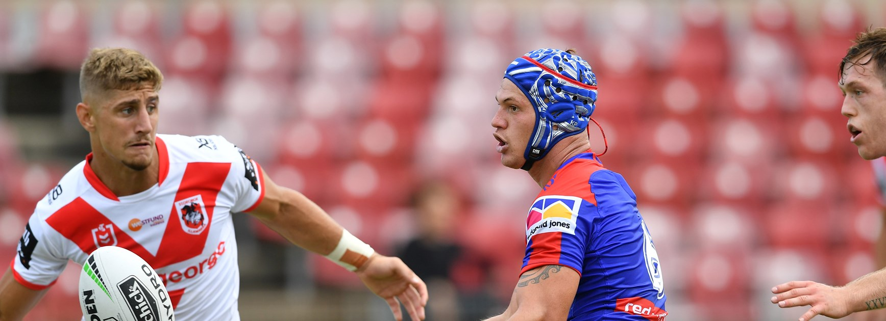 Kalyn Ponga in action against the Dragons.