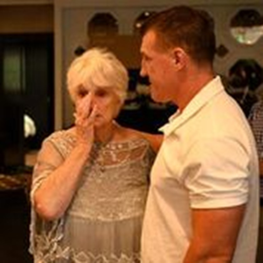 Lance Thompson's mother Joan with Sharks captain Paul Gallen.
