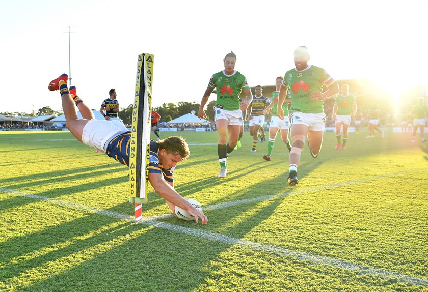 Ethan Parry grabs a try for the Eels.