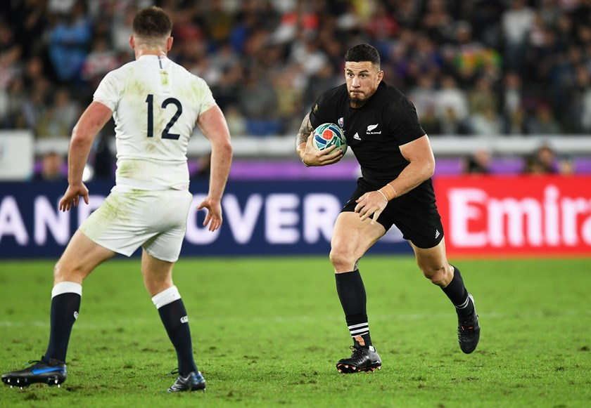 Sonny Bill Williams tries to make a break for the All Blacks in the 2019 World Cup semi-final loss to England.