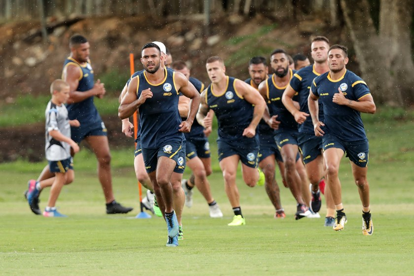 Bevan French strides out at training.