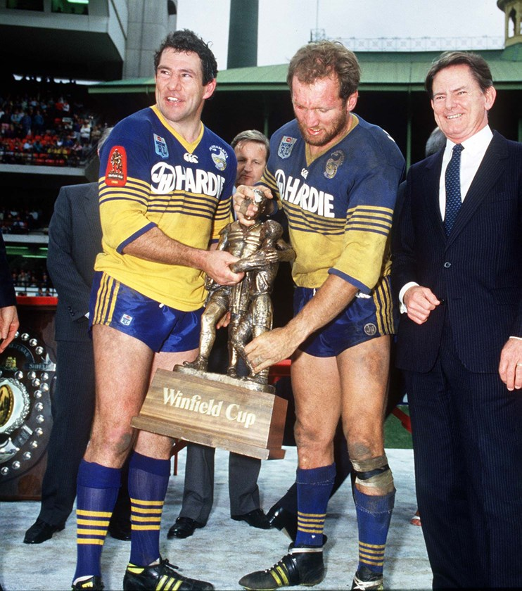 Eels legends Mick Cronin (left) and Ray Price.