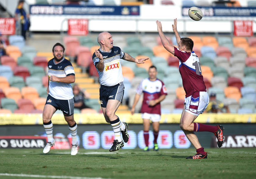 Adrian Vowles passes while playing for the Cowboys Old Boys in 2018.