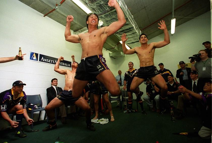Tawera Nikau leads a celebratory haka.