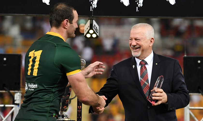 George Peponis with Boyd Cordner at the 2017 World Cup.