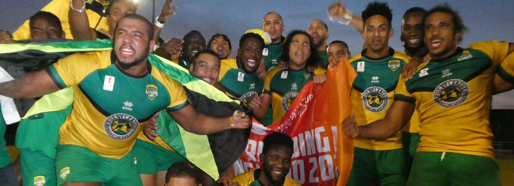 Jamaica players celebrate reaching the World Cup.