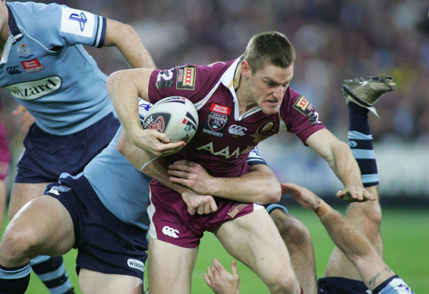 Brent Tate in action for the Maroons.