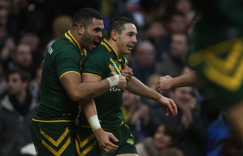 Greg Inglis and Billy Slater in the 2013 World Cup Final.