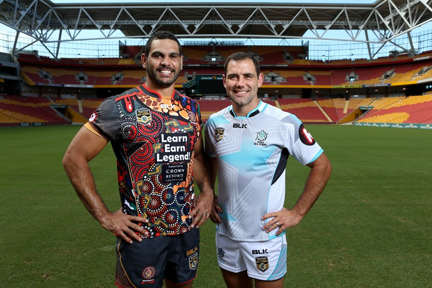 All Stars captains Greg Inglis and Cameron Smith in 2016.