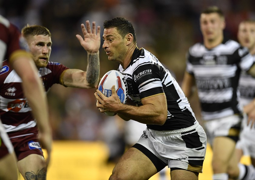 Hull FC forward Mark Minichiello against the Wigan Warriors at WIN Stadium in 2018.