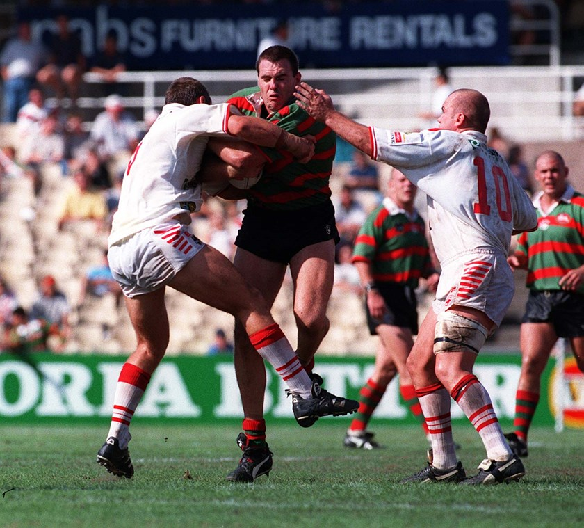 Matt Parsons rips in for the Rabbitohs in 1999.