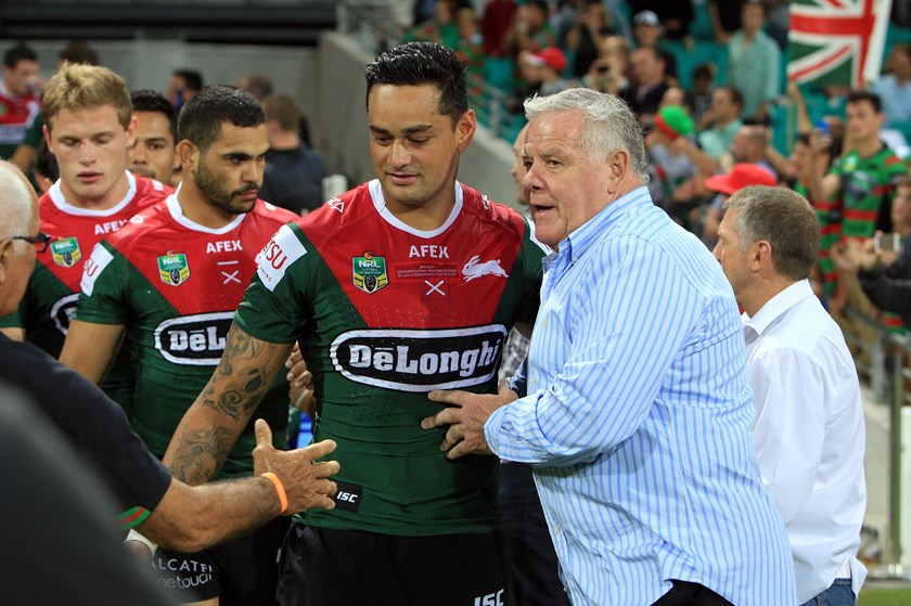 Bob McCarthy with modern-day Rabbitohs back-rower John Sutton.